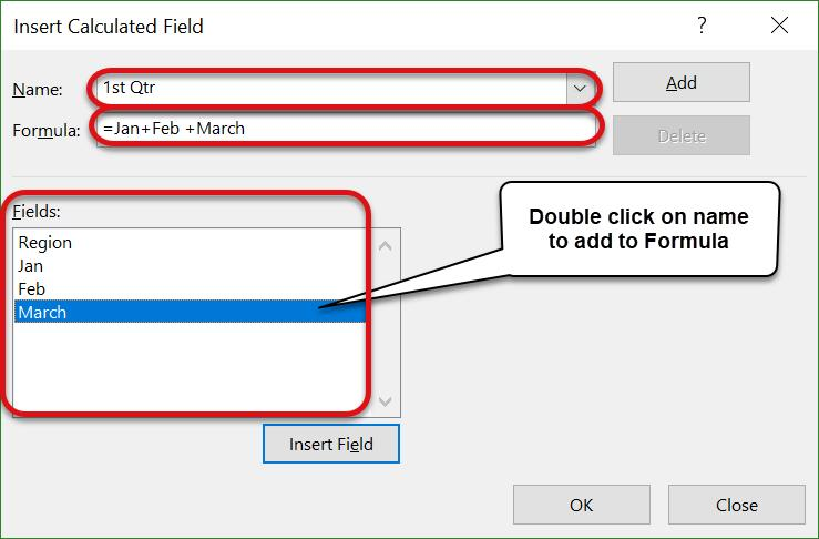 To add a field into the formula, double click on the field name from the list of Fields in the middle of the window.