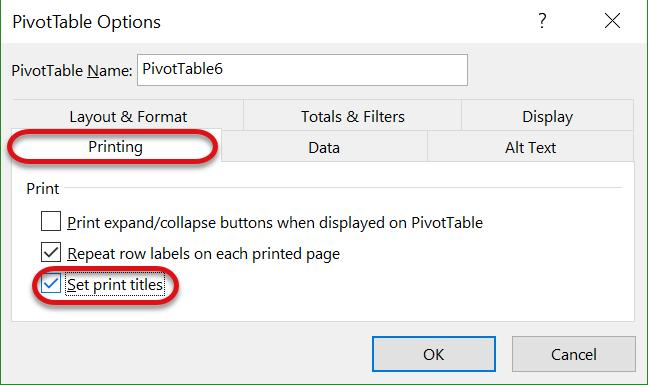 Print a PivotTables Insert a Page Break after a Row Label If the data in the PivotTable has more than one row label, meaning there are multiple