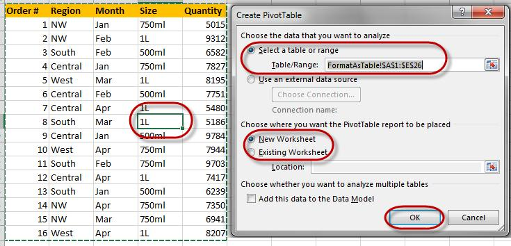 Manual PivotTable To create a manual PivotTable, make sure the cursor is within the table (data) on the worksheet.