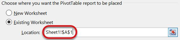 Note: Users may also select the data on the worksheet, navigate to the Insert tab, and then click the PivotTable icon.