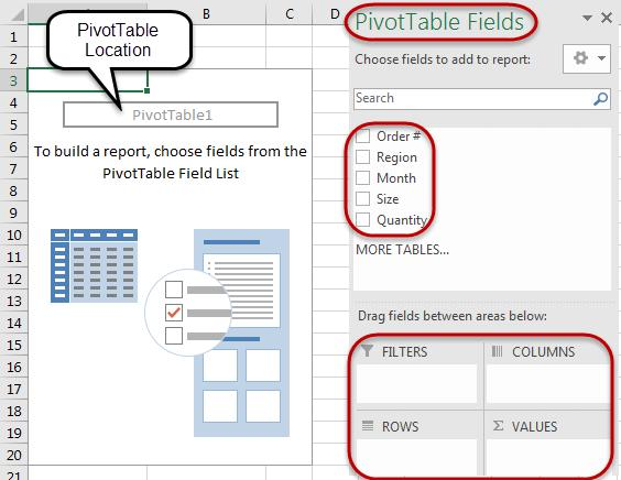 The PivotTable will be inserted onto a sheet and will look similar to the screenshot below.