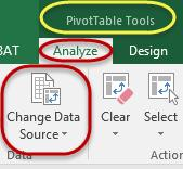 To change the original data source, make sure the cursor is within the PivotTable, navigate to the PivotTable Tools Analyze tab and then