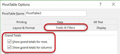 To get to the PivotTable options, make sure the cursor is in the PivotTable data, navigate to the PivotTable Tools Analyze Tab.