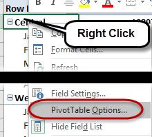 Tip: Another way to access the PivotTable options is to right click within a PivotTable and then select PivotTable options.