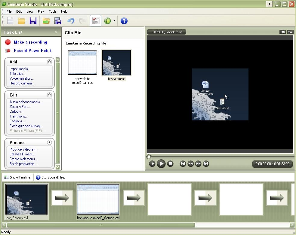 PART II Editing The Camtasia Studio workspace D A E C G B F A. Preview Area F. Storyboard Viewer B.