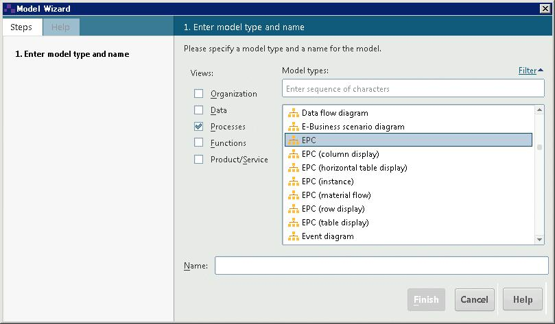 3.1 Create a model To create the Customer acquisition EPC, proceed as follows. 1. Click the arrow in front of the Sales and Marketing database in the Navigation bar.