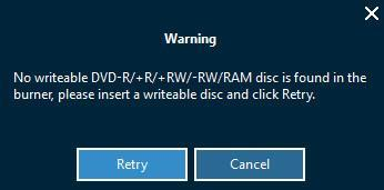 If you click Cancel button on the Warning window that shows you the inserted disc is not empty, Leawo Prof.