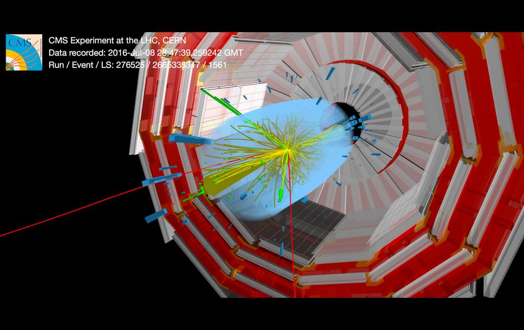 A particle collision in the CMS detector