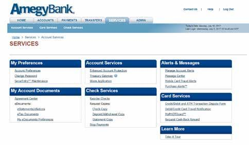 SERVICES TAB Account Services Courtesy Approval Enroll in Mobile Banking with Bill Pay Enroll in Enhanced Account Protection (EAP) to add an additional layer of security when performing certain
