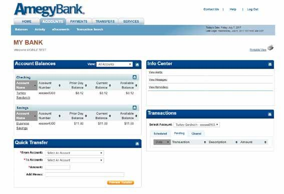 HOME TAB: My Bank. Account Balances includes a summary of your deposit account, loan, and credit card balances. Click on any account link to access more detail for each account.