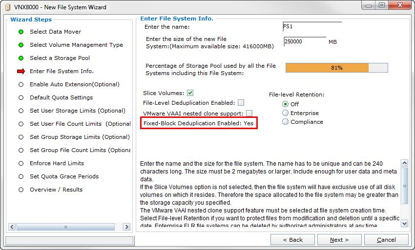 Figure 27. shows the Enter File System Info step within the New File System Wizard.