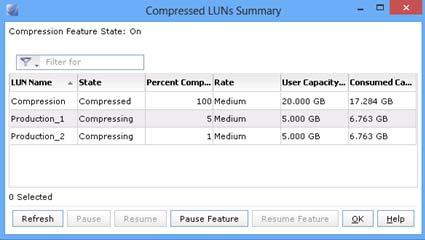 To view the LUN compression states, see Unisphere Help for a list and more information about each state.