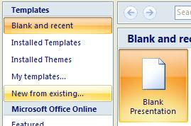 However, if you need to start a new presentation OR you want to start a new presentation with one of the built-in themes, you will want to click on the Office Button in the top left corner, and then