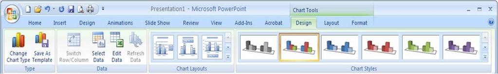 powerpoint 5 5. Edit the data in the MS Excel application. The information will automatically be reflected in the chart.