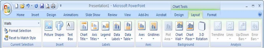 To add a title, click the Layout ribbon group from the Chart Tools and click Chart Title icon.