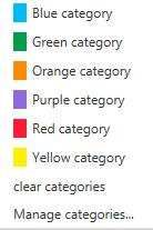 CATEGORIES OWA allows you to set a Category for each message. Categories are colored markers which can be applied to messages, contacts, calendar items etc.