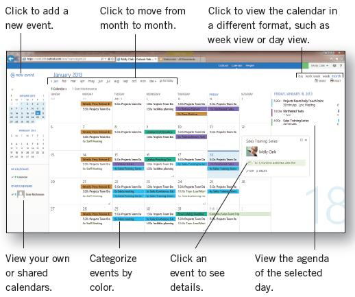 CALENDAR MEETINGS AND APPOINTMENTS The Calendar view tracks appointments and meetings. The calendar may be viewed four different ways; day, work week, week or month.