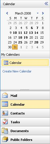 DRAFT COPY CALENDAR The Navigation pane consists of: Navigation Pane Reference Month My Calendars Description Allows you to view and select dates within a chosen month.