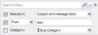 ADDITIONAL FEATURES DRAFT COPY Select from any of the following criteria options: Item Results in From/Sent To Category Description Search choices are Subject and message body,