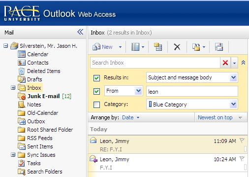 the button to run the query Note: The search feature in Contacts and Tasks works the same way, but has fewer options in Advanced Search, and only the category option is