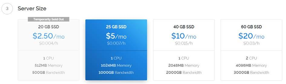 As for the server size, 1GB of memory is enough.