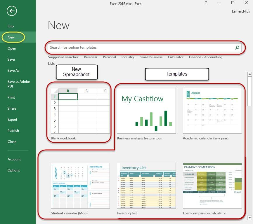 Create a New workbook To create a new workbook in Excel, click on the File tab and select New.