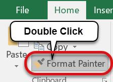 Format Painter The Format Painter tool is an easy way to apply text formatting from one cell to other cell(s) within the workbook.