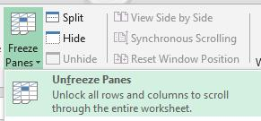 Within the Freeze panes icon, there are a couple of options that can be applied; Freeze Panes The user is able to freeze the area above and to
