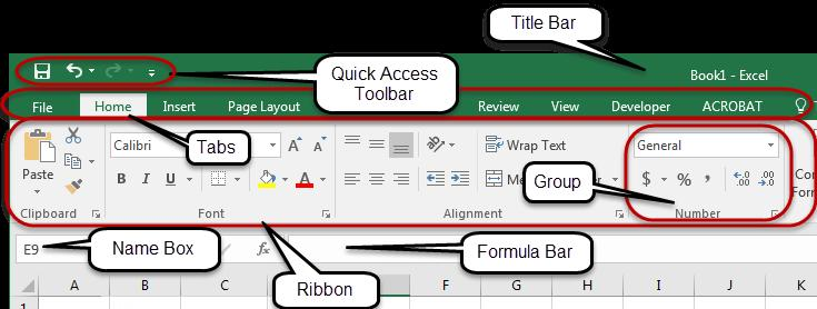 Excel 2016 User Interface Title Bar The Title bar is located at the top of the Excel window. The name of the active workbook is displayed in the center of the Title Bar.