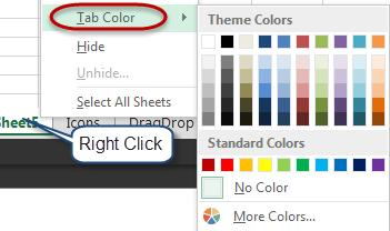 To change the color of a tab, right click on the sheet, navigate to Tab Color, and select a color.