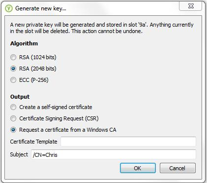 2. Click Generate new key. 3. Under Output, select Request a certificate from a Windows CA. Depending on your organization, the Certificate Template field may already be completed.