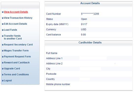 View Account Details After you log in the card website, you will see items on the upper left corner.
