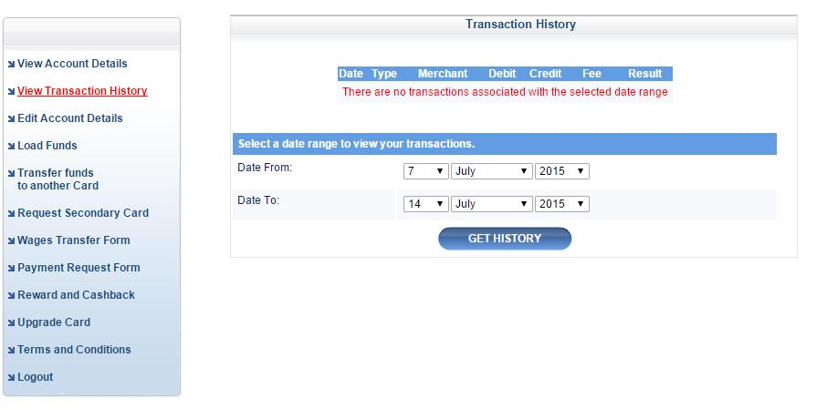 View Transaction History Choose the date and click the GET