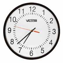 "12 & 16 ANALOG CLOCKS Valcom s quartz analog clocks are available in 12"" or 16"" round metal case with shatter-proof polycarbonate crystal."