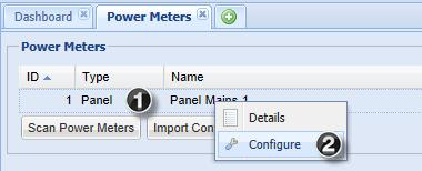 Configure Thresholds 1 In the dashboard, click the power meter or panel to open the pop-up