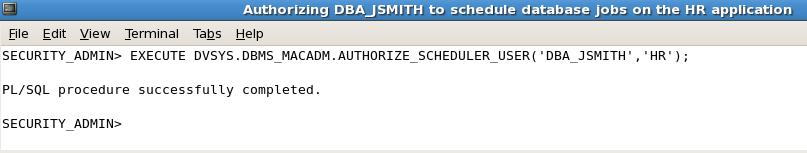 In the following example, the DBA is authorized to schedule and run database jobs on the realm- protected HR application.