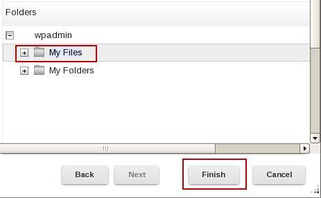 10. Expand wpadmin and select My Files. Click Finish. 11.