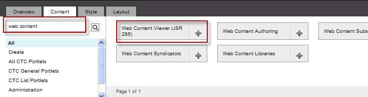 10. Click on Edit Mode. 11. Click on the Content tab. Search for web content.