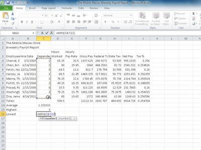 EX 88 Excel Chapter 2 Formulas, Functions, and Formatting 2 Click Min to display the MIN function in the formula bar and in the active cell (Figure 2 23). Why does Excel select the range C14:C15?