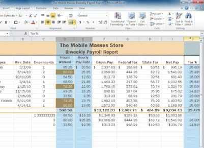 Formulas, Functions, and Formatting Excel Chapter 2 EX 109 columns D, E, and J selected new column H width Excel Chapter 2 Figure 2 55 4 If necessary, scroll the worksheet to the right so that the