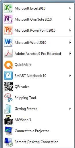 Adding prgrams t the Start menu r Taskbar Prgrams that are used frequently can be added t the