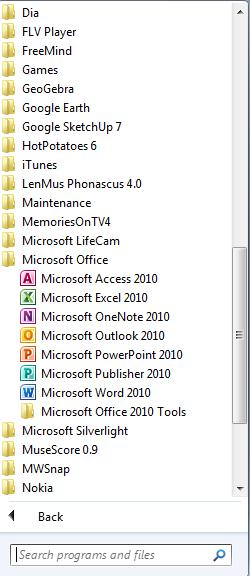 Adding prgrams t the Start Menu r Taskbar a. Click the Start buttn b. Click All Prgrams c.