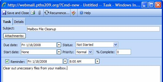 Outlook Web Access (OWA) PTHS District 209 About Tasks A task is a personal or work-related errand you want to track through completion. A task can occur once or periodically (a recurring task).