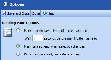Outlook Web Access (OWA) PTHS District 209 Mark Previewed Items as Read or Unread Use the following options to determine whether items displayed in the Reading Pane will be marked as read or left as