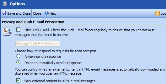 "PTHS District 209 Outlook Web Access (OWA) Help Protect Your Privacy Outlook Web Access helps you control unwanted and unsolicited messages (""junk e- mail"") and block links to external content that"