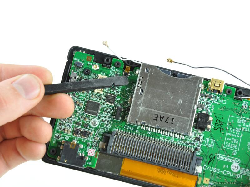 Nintendo DS Lite Touchscreen Replacement Step 13 Use your fingernail or the edge of a spudger to carefully flip up