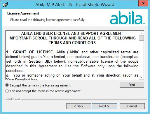 Chapter 7: Alerts IIS Install 6. Click Next.