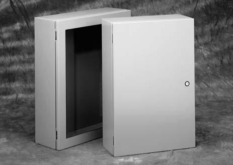 Type 4 / 12 Enclosures Type 4 & 12 Single-Door Wall-Mount Enclosures Data Sheet Application Houses electrical controls and instruments in a contemporary streamlined design Premier series enclosures