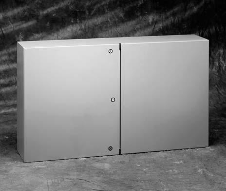 Type 4 / 12 Enclosures Type 12 Two-Door Enclosures Data Sheet Construction Enclosure and door are fabricated from code gauge steel (see table) All continuous welded seams are finished smooth Hardware