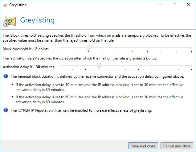 Picture 115: Configure the options of greylisting You can define from which threshold greylisting starts to become active and set the delay time after which the Level of Trust entry should ensue.